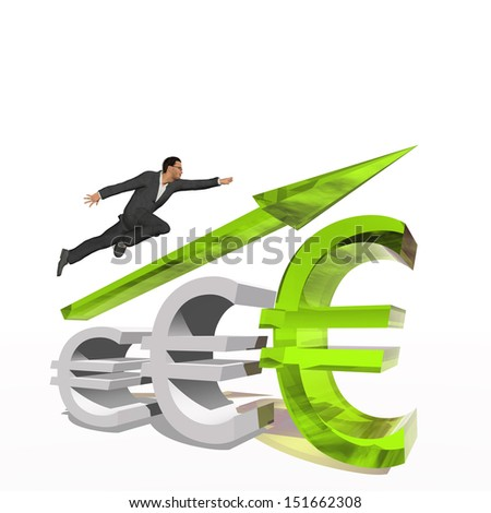 Concept or conceptual 3D green glass euro symbol with arrow pointing up isolated on white background with businessman as a metaphor for business,finance,money,growth,success,stock,currency or economy - stock photo