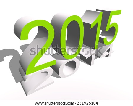 Concept or conceptual 3D green 2015 year isolated on white background metaphor to holiday, symbol, Christmas, calendar, happy, eve, December, January, time, change, season, new year or winter graphic - stock photo