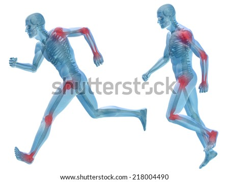 Concept or conceptual 3D human anatomy body with pain isolated on white background as metaphor to health, medicine, medical, biology, osteoporosis, arthritis, joint, disease inflammation or ache - stock photo