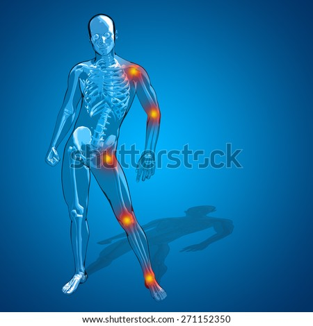 Concept or conceptual 3D human man or male skeleton pain or ache anatomy transparent body, blue background, metaphor to medical, health, science, rheumatism, inflamation, injury, osteoporosis, disease