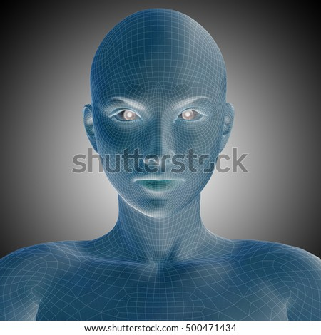 Concept or conceptual 3D illustration wireframe young human female or woman face or head on gray background for technology, cyborg, digital, virtual, avatar, model, science, fiction or future