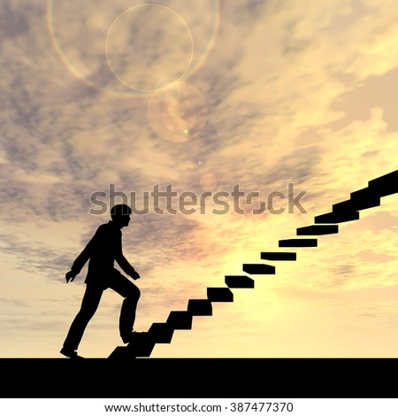 Concept or conceptual 3D male businessman on stair or steps over sunset sky background metaphor to success, climb, business, rise, achievement, growth, job, career, leadership, education, goal, future - stock photo