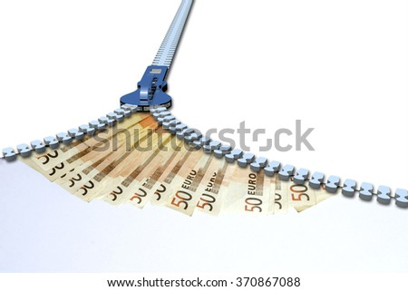 Concept or conceptual 3D metal zipper from to euro money banknotes or cash isolated on white banking background, metaphor to business, finance, savings, growth, wealth, shopping, vision, economy trade