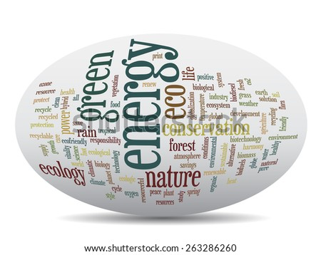 Concept or conceptual 3D oval or ellipse abstract green ecology and conservation word cloud text on white background - stock photo