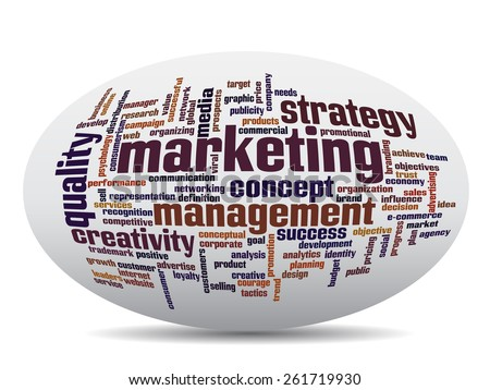 Concept or conceptual 3D oval or ellipse abstract word cloud on white background, metaphor for business, trend, media, focus, market, value, product, advertising, customer, corporate wordcloud - stock photo