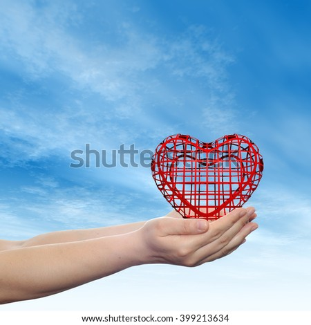Concept or conceptual 3D red abstract heart sign or symbol held in hands by woman or child over nice blue cloud sky background metaphor to love, holiday, wedding, care, valentine, protection romantic - stock photo