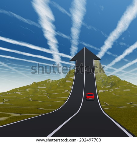 Concept or conceptual 3D red car on arrow road pointing up, upward over a mountain to sky background, metaphor to success, business, future, transportation, progress, increase, growth, goal, challenge