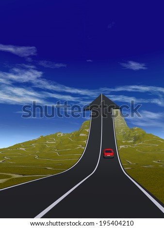 Concept or conceptual 3D red car on arrow road pointing up,upward over a mountain to sky background, metaphor to success, business, future, transportation, progress, increase, growth, goal,challenge