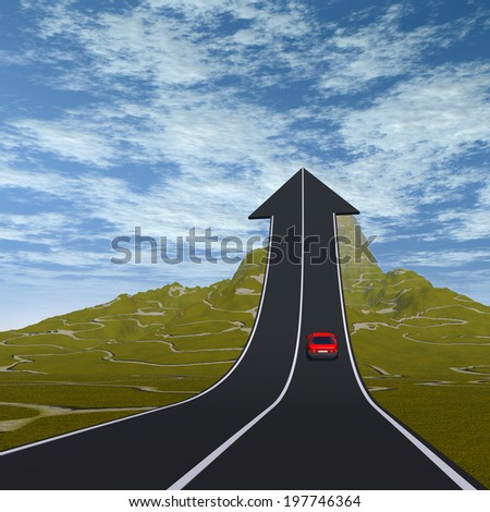 Concept or conceptual 3D red car on arrow road pointing up,upward over a mountain to sky background, metaphor to success, business, future, transportation, progress, increase,growth ,goal, challenge - stock photo