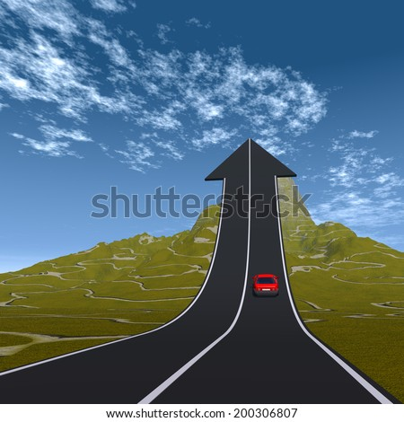 Concept or conceptual 3D red car on arrow road pointing up,upward over a mountain to sky background, metaphor to success, business, future, transportation, progress, increase, growth, goal, challenge