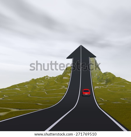 Concept or conceptual 3D red car on arrow road pointing up,upward over a mountain to sky background, metaphor to success, business, future, transportation, progress, increase, growth, goal challenge