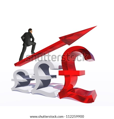 Concept or conceptual 3D red glass dollar symbol with arrow pointing up isolated on white background with businessman as a metaphor for business,finance,money,growth,success, stock,currency or economy
