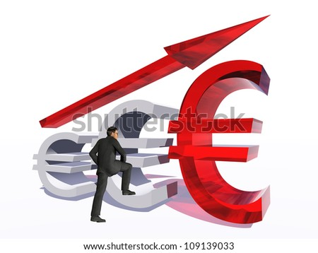 Concept or conceptual 3D red glass euro symbol with arrow pointing up isolated on white background with businessman as a metaphor for business,finance,money,growth,success,stock,currency or economy