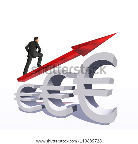 Concept or conceptual 3D red glass euro symbol with arrow pointing up isolated on white background with businessman as a metaphor for business,finance,money,growth,success, stock,currency or economy - stock photo