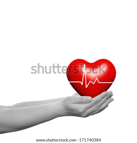 Concept or conceptual 3D red glass heart sign or symbol with a ribbon held in hands by a woman or child isolated over a white background as a metaphor for love,holiday, gift,care,valentine or romantic - stock photo