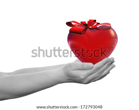 Concept or conceptual 3D red heart sign or symbol with a ribbon held in hands by a woman or child isolated over a white background as a metaphor for love, holiday, gift, care, valentine or romantic - stock photo