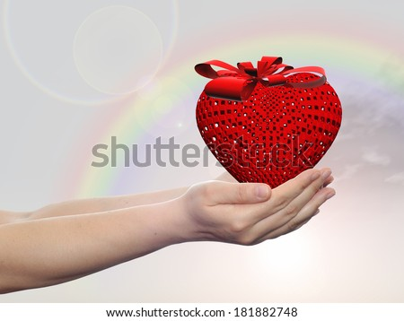 Concept or conceptual 3D red heart sign or symbol with ribbon held in hands by   a man, woman or child on rainbow sky background, metaphor for love, holiday, gift, care, valentine or romantic