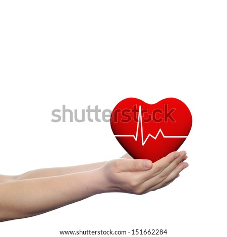 Concept or conceptual 3D red human heart sign or symbol held in human man or woman hands isolated on white background