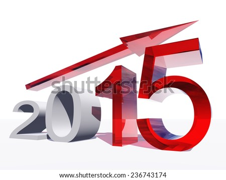 Concept or conceptual 3D red 2015 year and arrow, metaphor to success, growth, graph, future, finance, financial, new year, holiday, increase, rise, date, career, forecast or progress or for december - stock photo