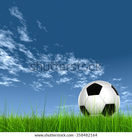 Concept or conceptual 3D soccer ball in fresh green summer or spring field grass with a blue sky background metaphor to sport, goal, competition, play, team, fun, stadium, meadow, activity soccerbal - stock photo