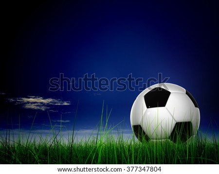 Concept or conceptual 3D soccer ball in fresh green summer or spring field grass with a blue sky background metaphor to sport, goal, competition, play, team, fun, stadium, meadow, activity soccerball - stock photo