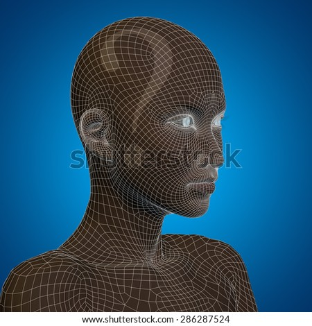 Concept or conceptual 3D wireframe human female question ask head on blue background metaphor for technology, cyborg, digital, girl, virtual, avatar, model, science, fiction, future, abstract mesh