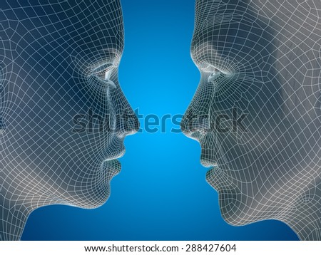 Concept or conceptual 3D wireframe or mesh human male and female head on blue gradient background as metaphor to technology, cyborg, digital, virtual, avatar, model, science, love, relation or future - stock photo