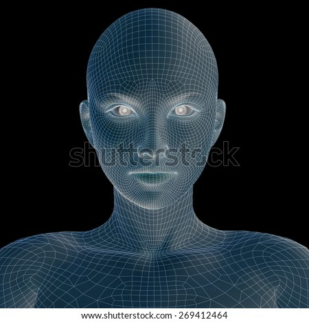 Concept or conceptual 3D wireframe young human female or woman head isolated on background, metaphor for technology, cyborg, digital, virtual, avatar, model, science, fiction, future, mesh or abstract