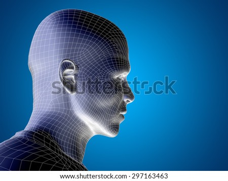 Concept or conceptual 3D wireframe young human male or man face or head on blue background, metaphor for technology, cyborg, digital, virtual, avatar, model, science, fiction, future, mesh or abstract