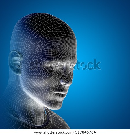 Concept or conceptual 3D wireframe young human male or man face or head on blue background  metaphor for technology, cyborg, digital, virtual, avatar, model, science, fiction, future, mesh or abstract - stock photo