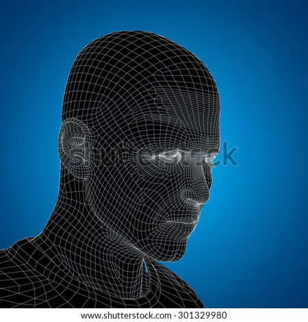 Concept or conceptual 3D wireframe young human male or man face or head on blue background metaphor for technology, cyborg, digital, virtual, avatar, model, science, fiction, future, abstract mesh