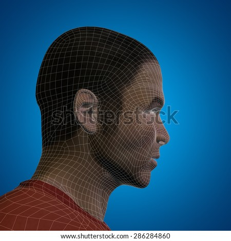 Concept or conceptual 3D wireframe young human male or man head on blue background as metaphor for technology, cyborg, digital, virtual, avatar, model, science, fiction, future, mesh or abstract