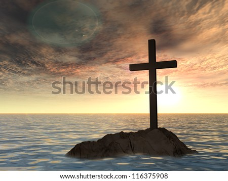 Concept or conceptual dark christian cross standing on a rock in the sea or ocean over a beautiful sky at sunset as a metaphor for faith,religion,religious,belief,jesus,christ,spiritual or church - stock photo