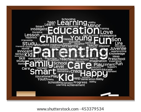 Concept or conceptual education abstract word cloud, blackboard background, metaphor to child, family, school, learn, knowledge, home, study, teach, educational, achievement, childhood or teen - stock photo