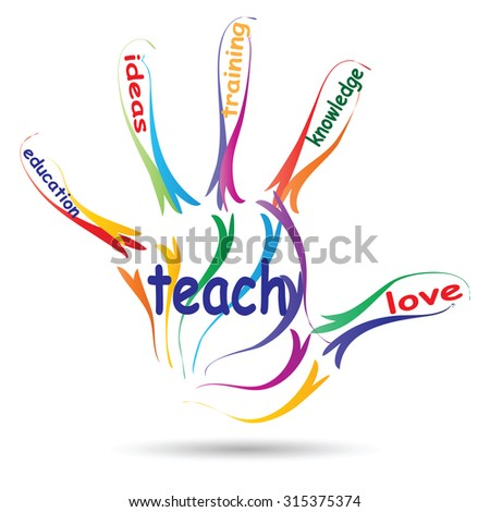 Concept or conceptual education hand print word cloud, white background, metaphor to child, family, school, life, learn, knowledge, home, study, teach, educational, achievement, childhood, teen - stock photo