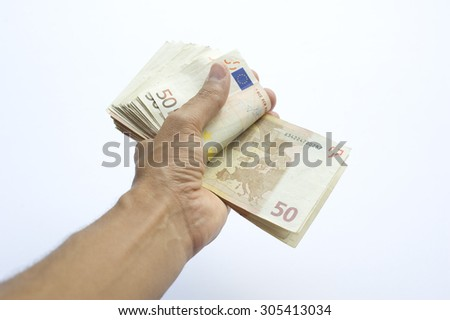 Concept or conceptual euro paper money banknote in human or man hands isolated on white background, metaphor to business, finance, loan, success, wealth, banking, payment, economy, profit or commerce