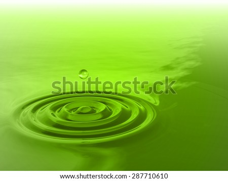 Concept or conceptual green liquid drop falling in water with ripples and waves background as metaphor to nature, natural, summer, spa, drink, cool, business, environment, rain or health design - stock photo