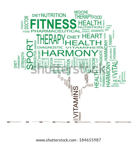 Concept or conceptual green text word cloud or tagcloud as a tree isolated on white background as metaphor for health, nutrition, diet, wellness, body, energy, medical, sport, heart or science