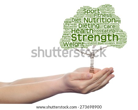 Concept or conceptual green text word cloud or tagcloud as tree in man or woman hand isolated on white background, metaphor to health, nutrition, diet, body, energy, medical, sport, heart or science - stock photo