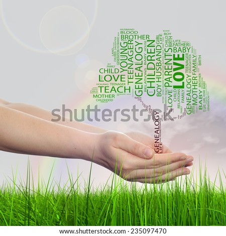 Concept or conceptual green text word cloud tagcloud as tree on man or woman hand isolated on white background and grass, metaphor to child, family, education, home, love and school learn achievement - stock photo