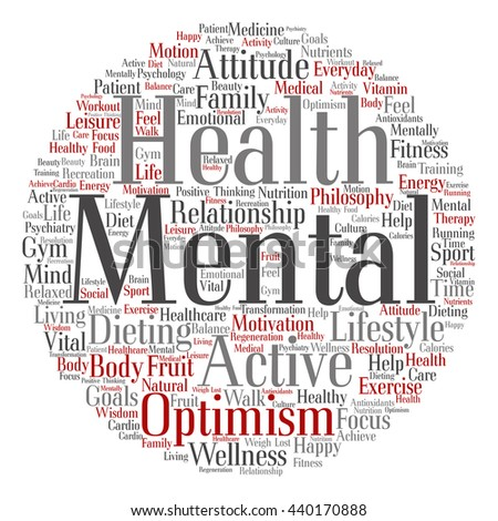 Concept or conceptual mental health or positive thinking round abstract word cloud isolated on background, metaphor to optimism, psychology, mind, healthcare, thinking, attitude, balnce or motivation - stock photo