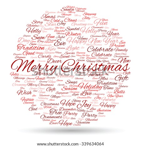 Concept or conceptual Merry Christmas holiday or Happy New Year winter abstract text word cloud on white background, metaphor to celebration, Santa, festive, december, love, family, joy or home - stock photo