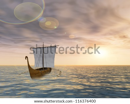 Concept or conceptual old ship or sailboat in wavy water in a sea or ocean over a sky with clouds, sun at sunset as metaphor for nature,summer,vacation,tourism,sail,tropical,peace,yachting or free