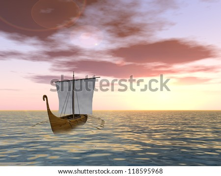 Concept or conceptual old ship or sailboat in wavy water in a sea or ocean over a sky with clouds, sun at sunset as a metaphor for nature,summer,vacation,tourism,sail,tropical,peace,yachting or free - stock photo