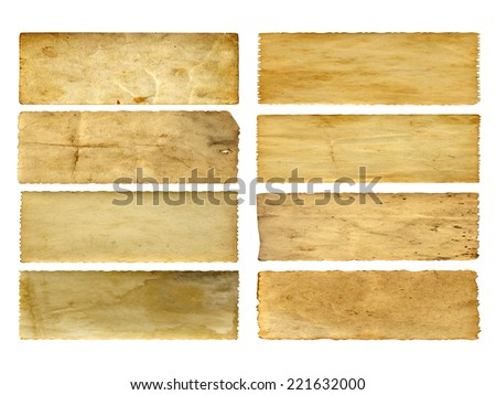 Concept or conceptual old vintage paper backgrounds set or collection isolated on white, ideal for antique, grunge, texture, retro, aged, ancient, dirty, frame, manuscript or material designs - stock photo