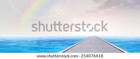 Concept or conceptual old wood or wooden deck pier on coast of exotic blue clear sea, ocean waves vacation or tourism sky background, metaphor to travel, summer, tropical, relax, resort or lifestyle - stock photo