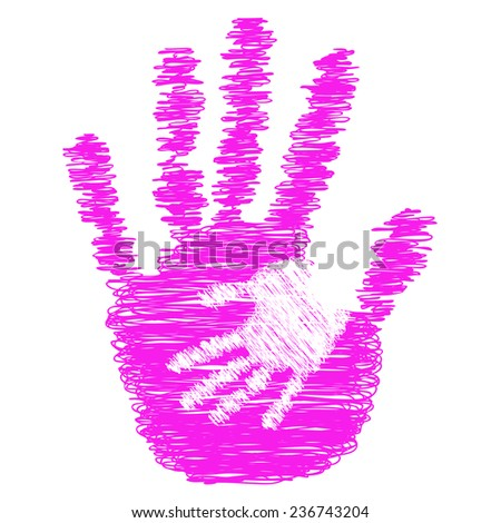 Concept or conceptual pink cute drawing paint hands of mother and child isolated on white for art, care, childhood, family, fun, happy, infant, symbol, kid, little, love, mom, motherhood or young - stock photo