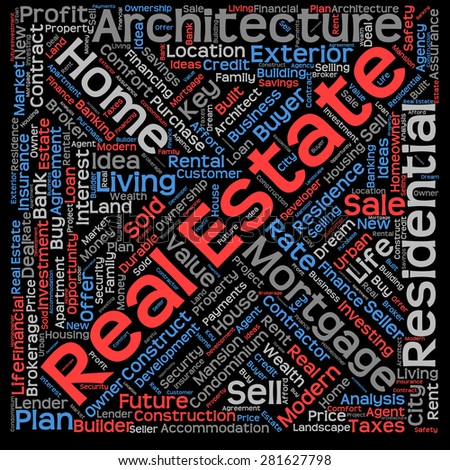 Concept or conceptual real estate or housing text word cloud tagcloud isolated on black background, metaphor to investment, family, home, building, sale, residential, property, construction business - stock photo