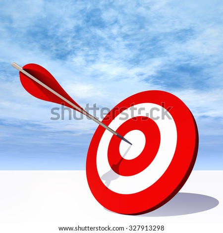 Concept or conceptual red dart target board with arrow in the center on clouds sky background, metaphor to success, competition, business, game, achievement, win, perfection, strategy, best or focus - stock photo