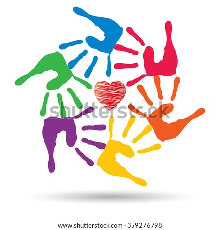 Concept or conceptual red heart symbol with child human hand prints spiral circle isolated on white background, metaphor to love, care, friendship, happy, family, protection, romantic or safety - stock photo